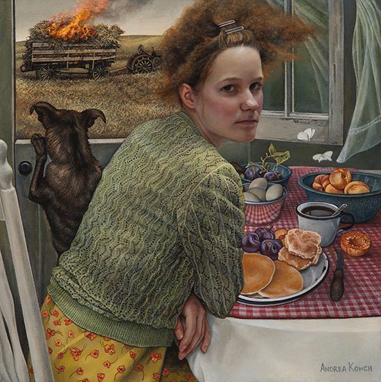 """""""Flame"""" by Andrea Kowch, 2017. Acrylic on canvas, 10 x 10 inches. Courtesy of RJD Gallery."""