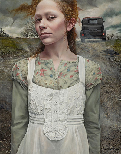 """""""Gust"""" by Andrea Kowch, 2016. Acrylic on canvas, 18 x 14 inches. Courtesy of RJD Gallery."""