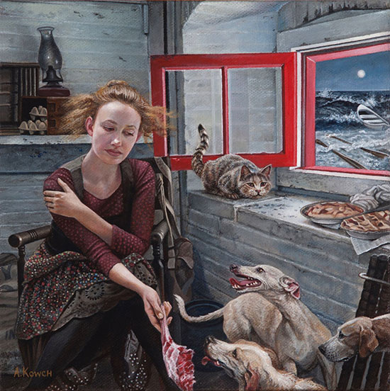 """""""High Tide"""" by Andrea Kowch, 2016. Acrylic on canvas, 8 x 8 inches. Courtesy of RJD Gallery."""