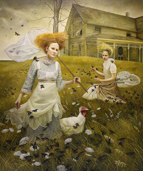 """""""Sojourn"""" by Andrea Kowch, 2011. Acrylic on canvas, 72 x 60 inches. Courtesy of RJD Gallery."""